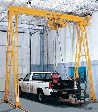 man using gantry crane